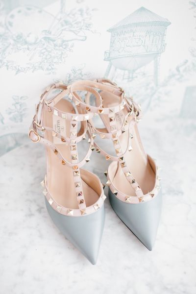 Pantone Colors of the Year Rose Quartz + Serenity wedding accents, amazing rose gold wedding shoes: