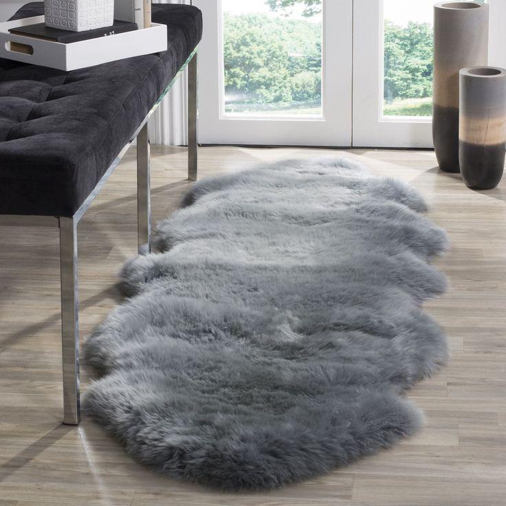 safavieh prairie natural pelt sheepskin wool steel blue shag rug 2u0027 x 6u0027 - Safavieh Shag Rug