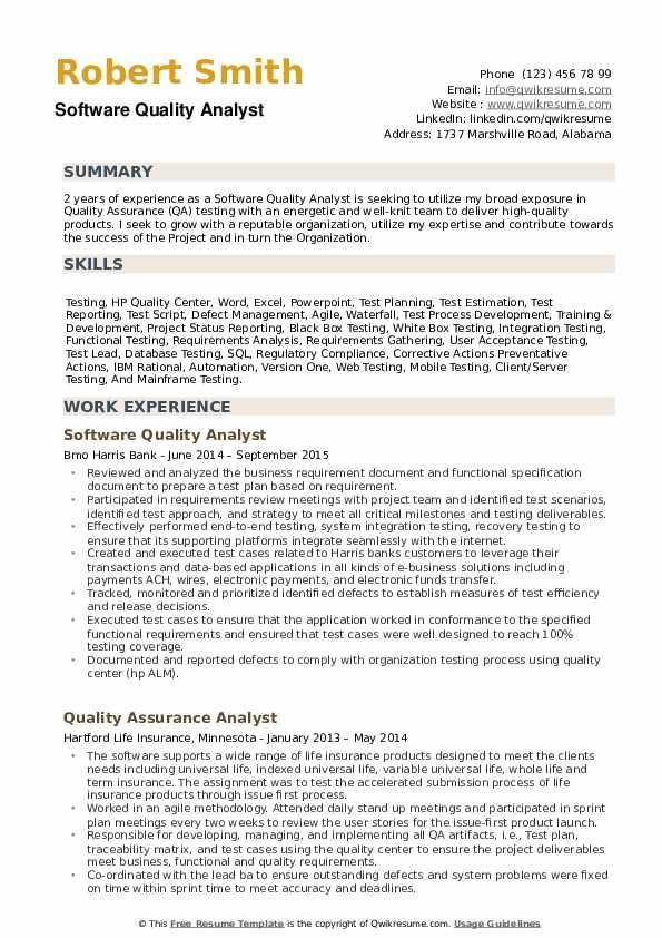 Software Quality Analyst Resume Samples In 2020 Medical Assistant Resume Resume Objective Statement Office Assistant Jobs