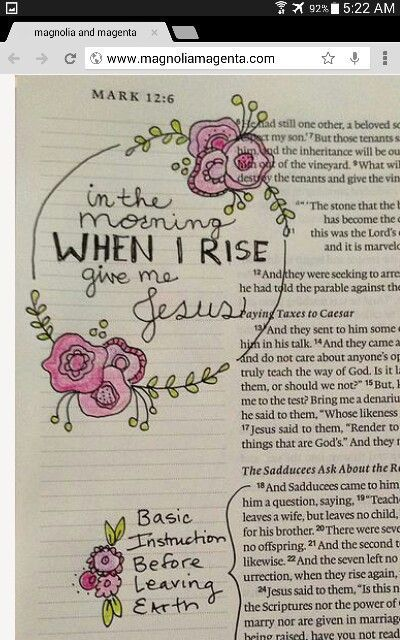 Bible Journaling- In the Morning When I Rise Give Me Jesus