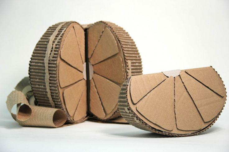 Cardboard sculpture of an orange / Maybe a good substitute for ceramics? If ceramics are unavailable.