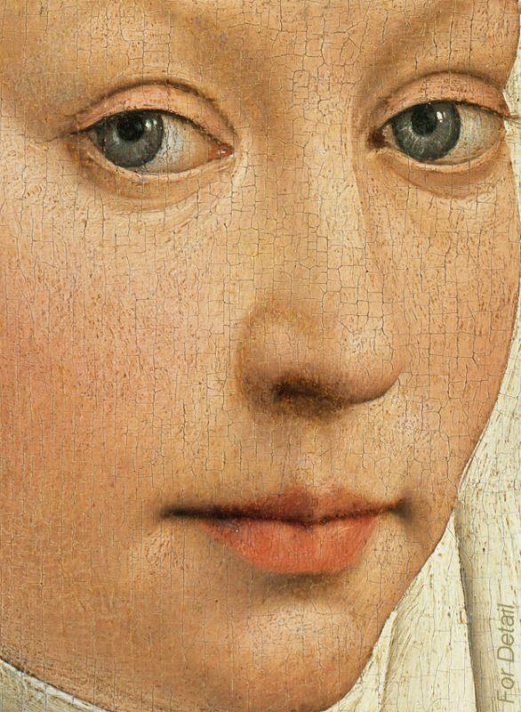 Rogier van der Weyden - Portrait of a Woman with a Winged Bonnet - Detail