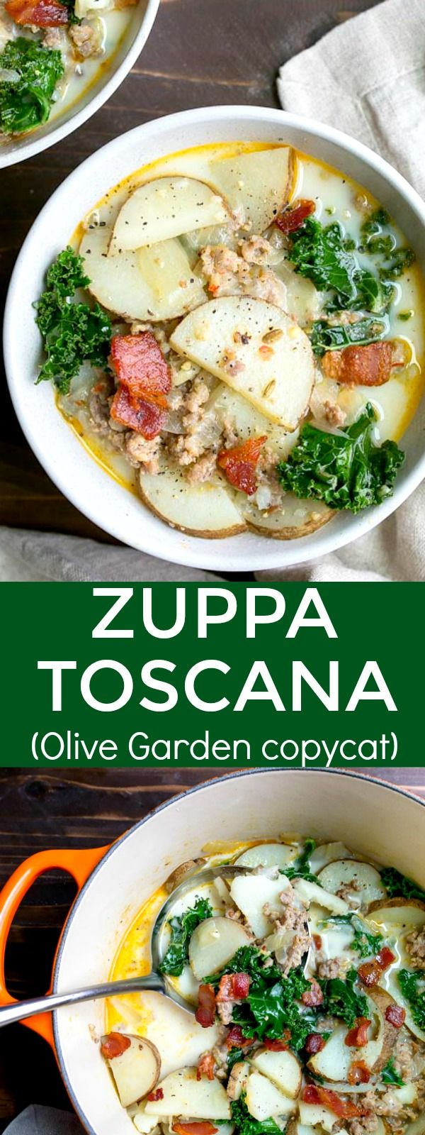 Zuppa Toscana soup recipe, a copycat Olive Garden soup with potatoes, kale, bacon, and sausage. Creamy potato soup made with bacon, sausage and kale that tastes just like Olive Garden's Zupa Toscana soup! via @dessertfortwo