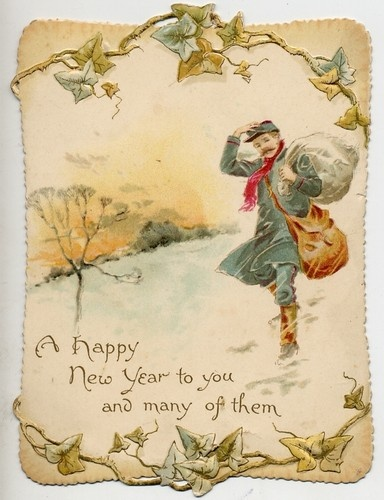 charming original victorian die cut new year card postman in the snow vintage holiday cards pinterest new year card vintage christmas cards and cards
