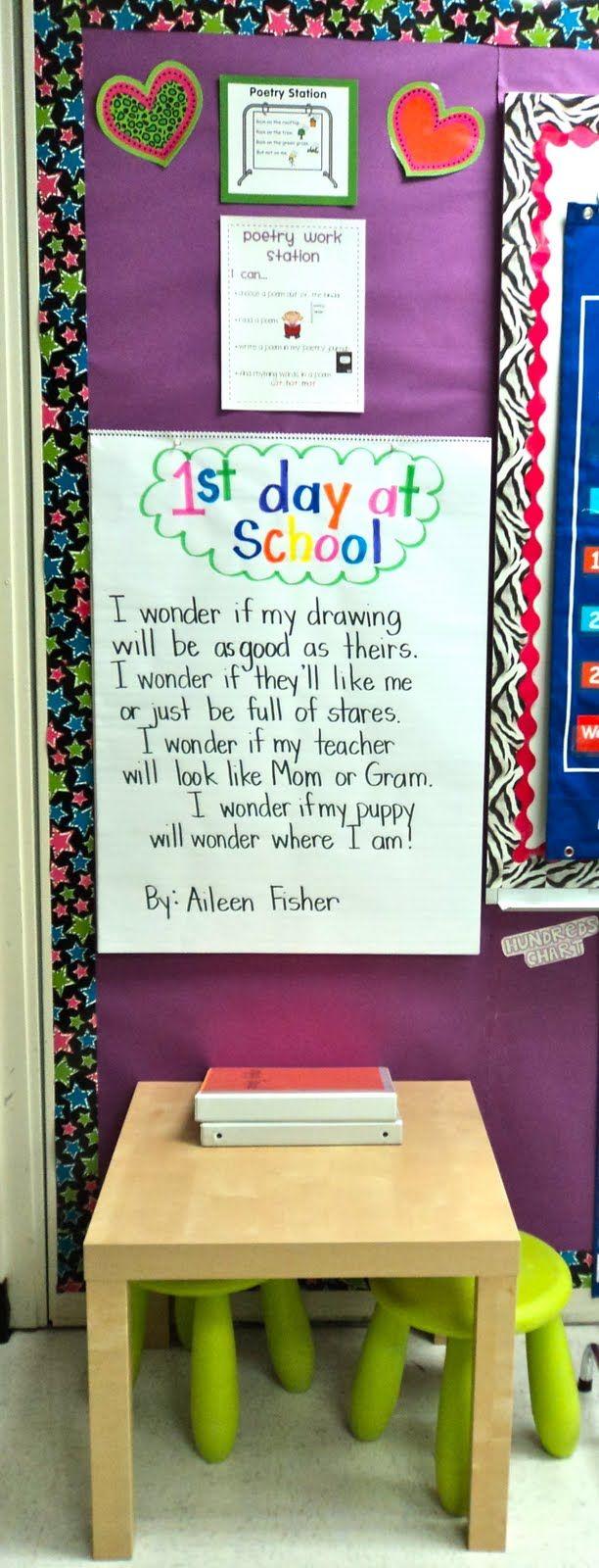 First week of school poem