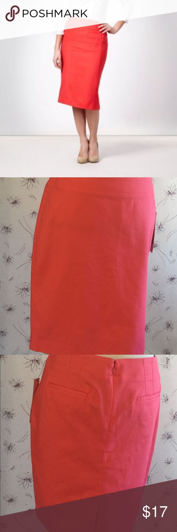 🛍NWT! Retail $58 Rafaella Coral Pencil Skirt🛍6 Brand new with tag! Retails for $58. Get started on your spring wardrobe with this coral colored pencil skirt by Rafaella. It features a hidden zipper, two back pockets and a small split in the back. Very cute and versatile skirt. Size 6. Fast shipper!!💃🏼💃🏼 Rafaella Skirts Pencil