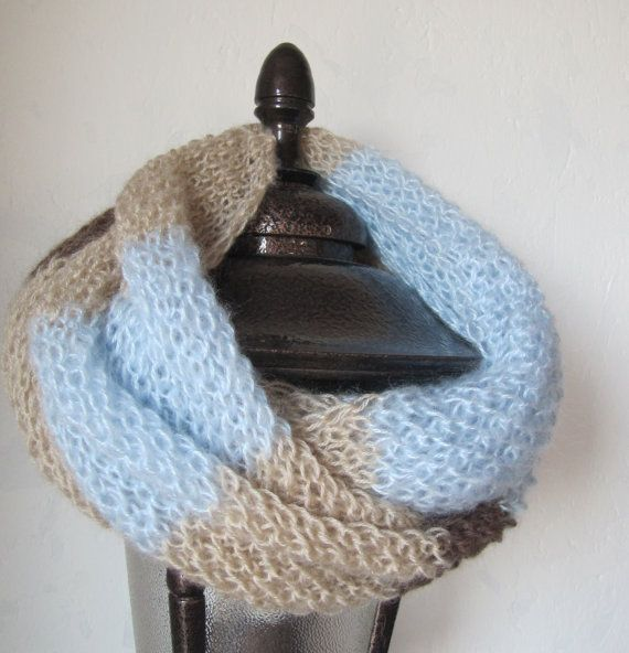 Cozy Beige baby blue and brown Chunky Knitted Loop by SEVILSBAZAAR