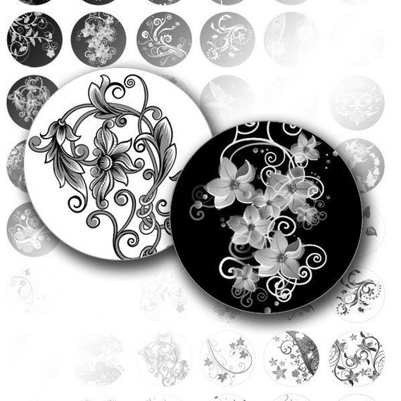 Digital collage sheet 1 inch circle digital art bottle cap images Black white swirls jewelry making paper supplies