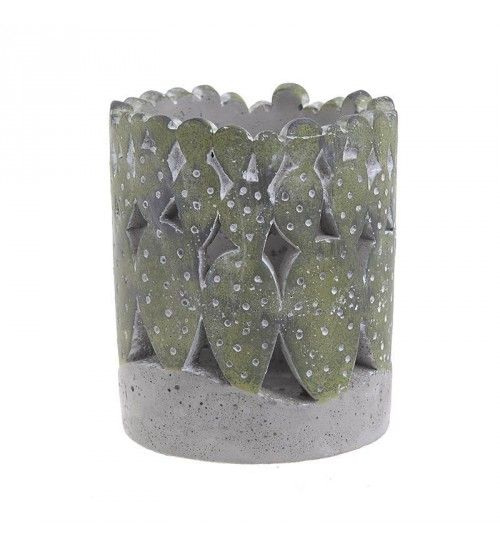 CEMENT CANDLE HOLDER IN GREEN_GREY COLOR D11X13