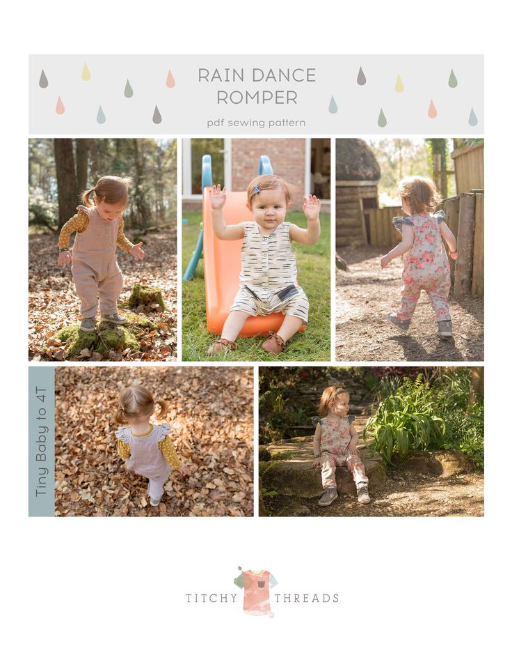 The Rain Dance Romper is a sweet sleeveless romper for boys or girls, for ages Tiny Baby to 4T. Perfect for any season - bare those baby arms and legs in summer, or layer over a long sleeved tee in winter.
