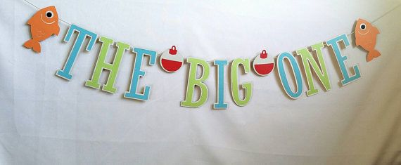 The big one fishing banner, 1st birthday banner, fishing birthday banner, baby's first birthday, fishing first birthday, Fish Photo Prop
