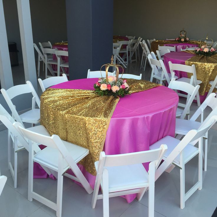 Princess Claudeth Birthday Party Crown Center Piece Pink and Gold table decorations
