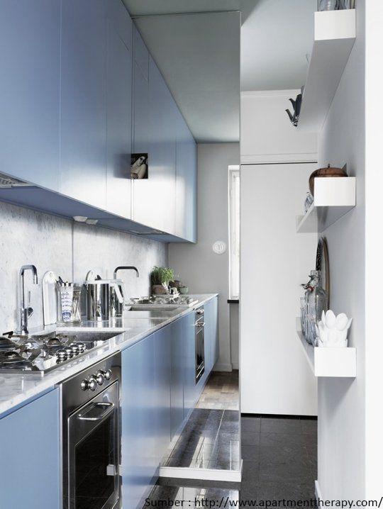cermin pada dinding dapur - Kleine Galeere Kche Bilder Umgestalten