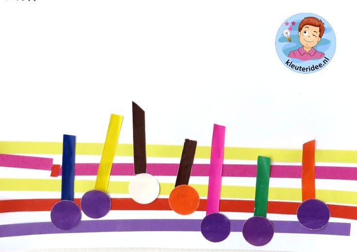 Noten en notenbalk maken met kleuters 2 , thema muziek, kleuteridee.nl
