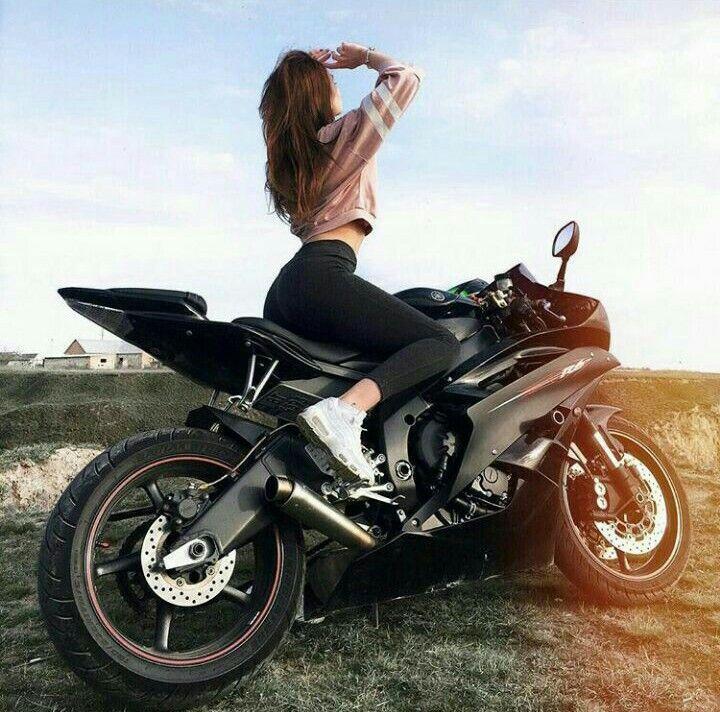 Black Yamaha R6 Motorcycle and Biker Girl Biker Queen #biker #black #motorcycle …