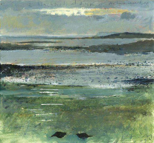 Two blackbirds at dusk, Ardnamurchan. - Kurt Jackson