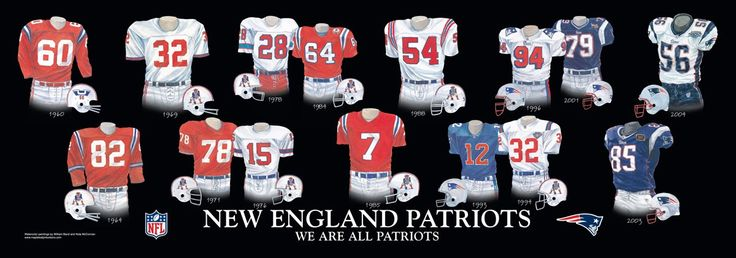 new england patriots players | New England Patriots Uniform and Team History | Heritage Uniforms and ...