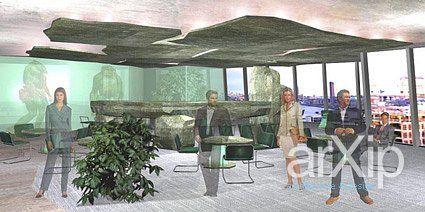 """Конкурсный проект """"Офис будущего"""" в проектируемом небоскребе по проекту Ренцо Пиано в Лондоне.: интерьер, хай-тек, офис, администрация, прихожая, холл, вестибюль, фойе, 50 - 80 м2 #interiordesign #hitech #office #administration #entrancehall #lounge #lobby #lobby #50_80m2 arXip.com"""