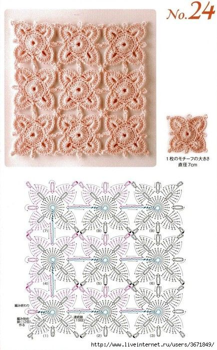 continuous crocheted motifs