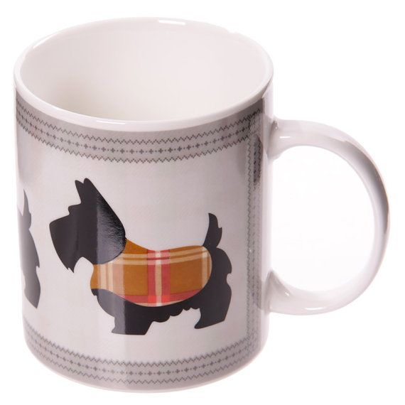 Set of 2 Coffee Cup Dotty Scottie Dog Design New by getgiftideas