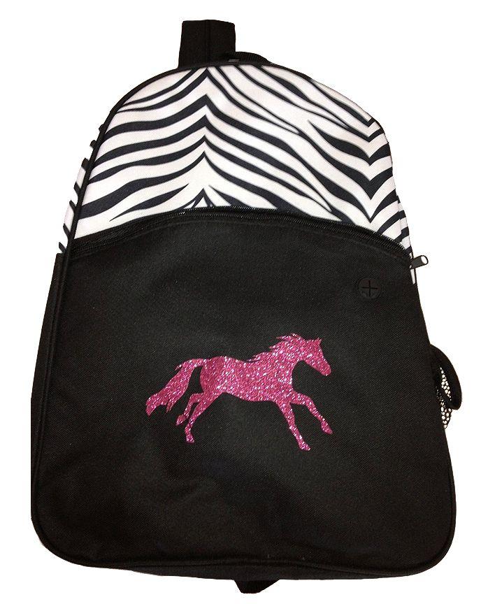 HorseLovers Trading Post - Lila Zebra Print w/Hot Pink Glitter Horse Backpack - Black and White, $24.00 (http://www.horseloverstradingpost.com/gifts/backpacks-ipad-cases/lila-zebra-print-w-hot-pink-glitter-horse-backpack-black-and-white/)