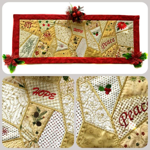 Crazy Patch Christmas Table Runner
