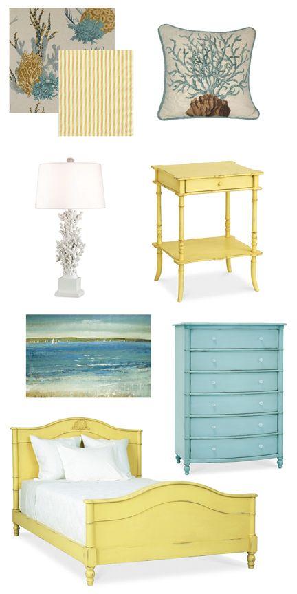 Coastal Bedroom Inspiration: Aqua + Yellow with Coral Theme Facebook: Anna Maria Island Beach Life www.annamariaislandhomerental.com