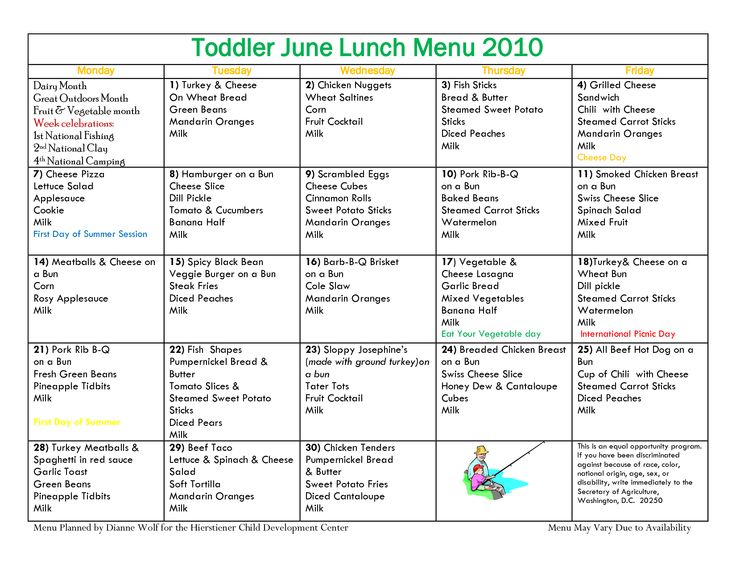 9 best Daycare menu ideas images on Pinterest Toddler food, Baby