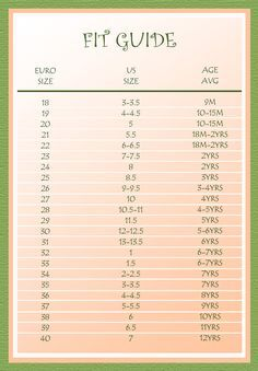 Kids Shoes Size Chart European Shoe Size Conversion Chart