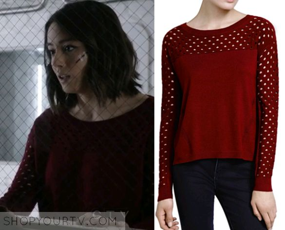 Basic with fun details. Great color. Skye (Chloe Bennett) wears this sweater in an episode of Agents of SHIELD.