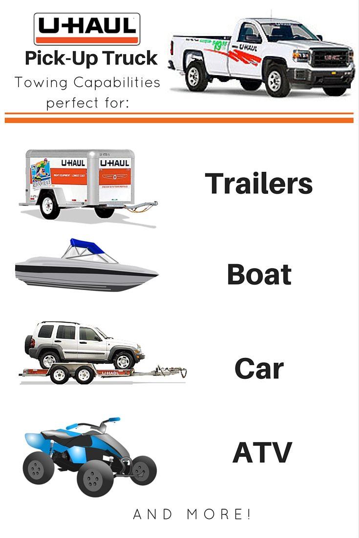 U haul pickup trucks can tow trailers boats cars and recreational vehicles