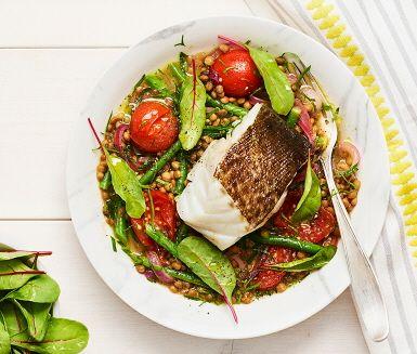 Fisk med linser, haricots verts, tomat och citron (400g torra linser för 6 port. Addera citronpeppar.)