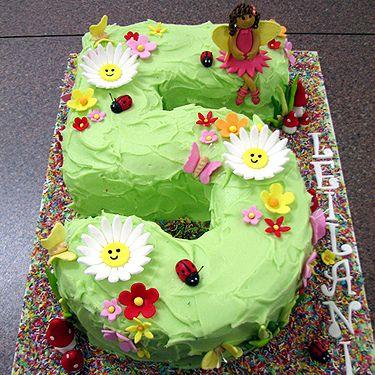 Number 5 ladybug garden cake
