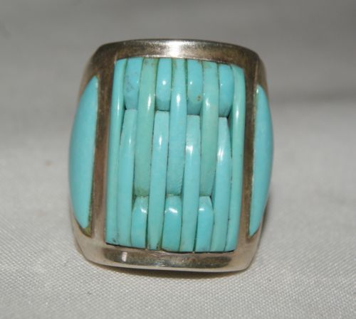 Sterling silver and mosaic turquoise ring