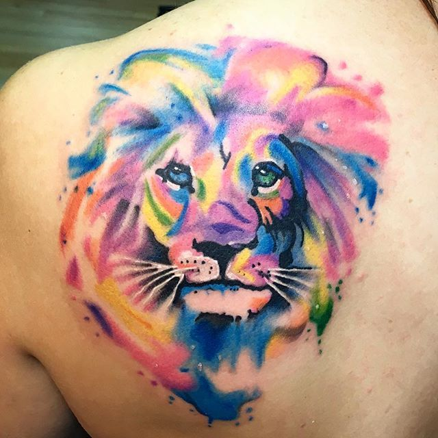 Be a lion, my dear. Stand tall, be proud & never back down.  #tattoo #girlswithtattoos #ressurectionink #watercolortattoo #lion #bealionnotasheep