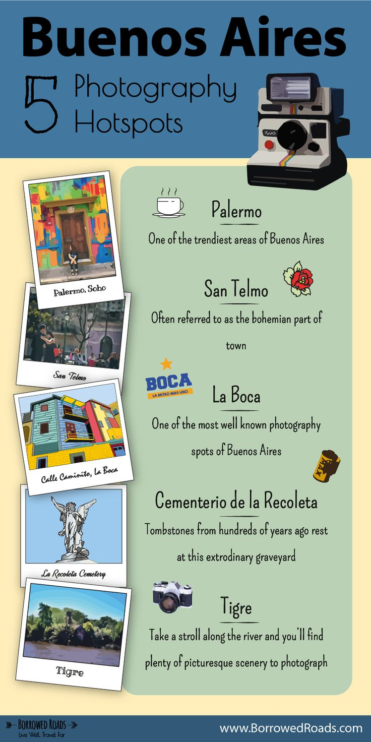 Check out our 5 photography hotspots in Buenos Aires #travel #infographic #buenosaires #photography