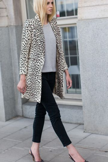 Emerson fry wing tip coat in leopard linen + black skinnies +