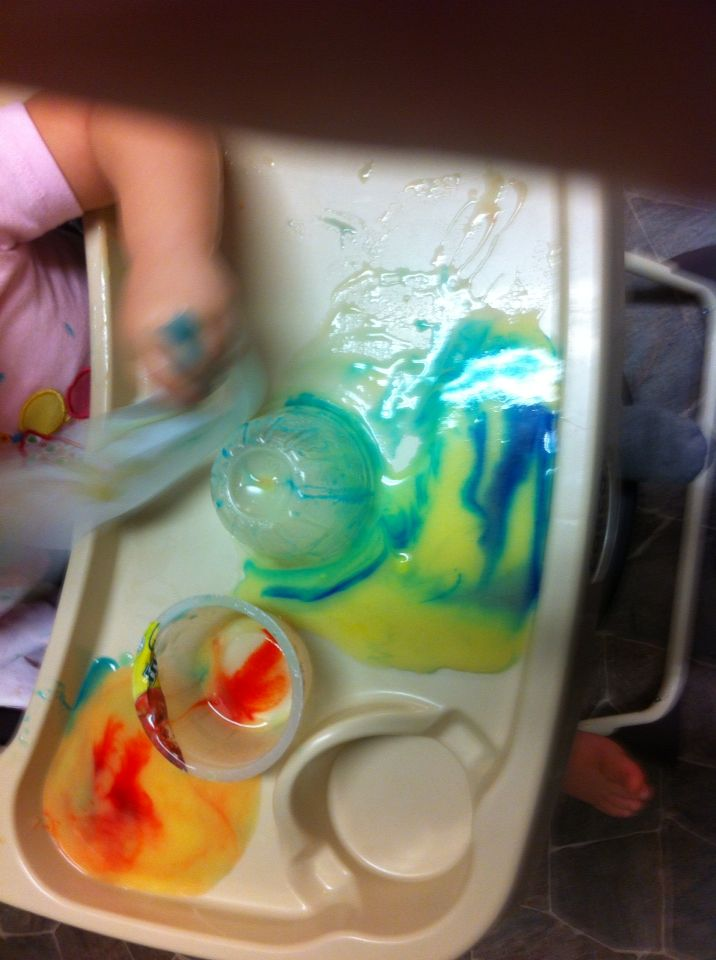 Others enjoyed dumping out the containers and playing with it on their trays.