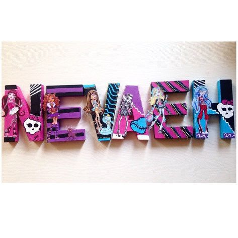 Monster High Wall Letters Monster High By NoStressPartyGoods. Monster High  RoomDecorative Wooden LettersPainted LettersMonster High DecorationsWooden  ...