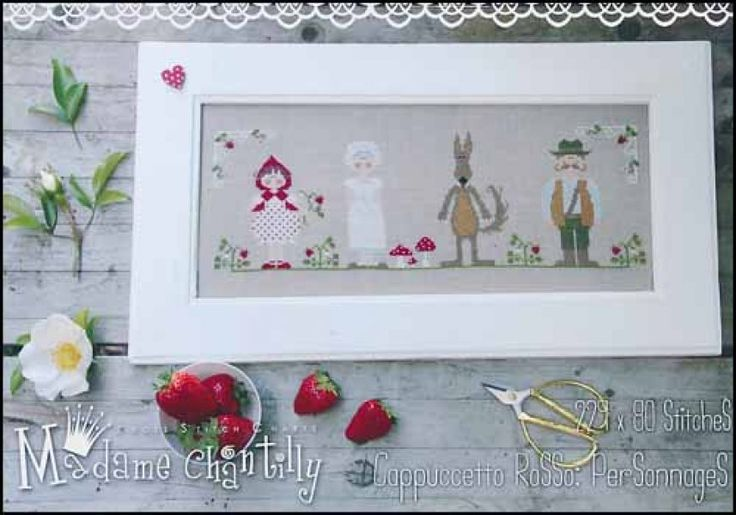 Cappuccetto Rosso Personnages is the title of this cross stitch pattern from Madame Chantilly inspired by the fairy tale 'Little Red Riding Hood'.