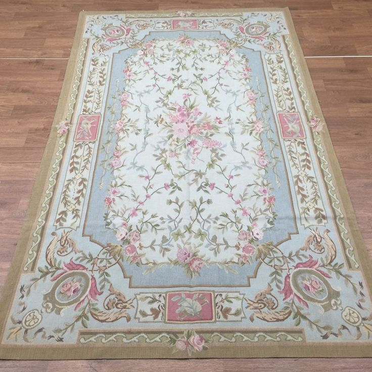 5 X8 Hand Knotted Aubusson French Style Rug Wool Carpet Living Room Au05