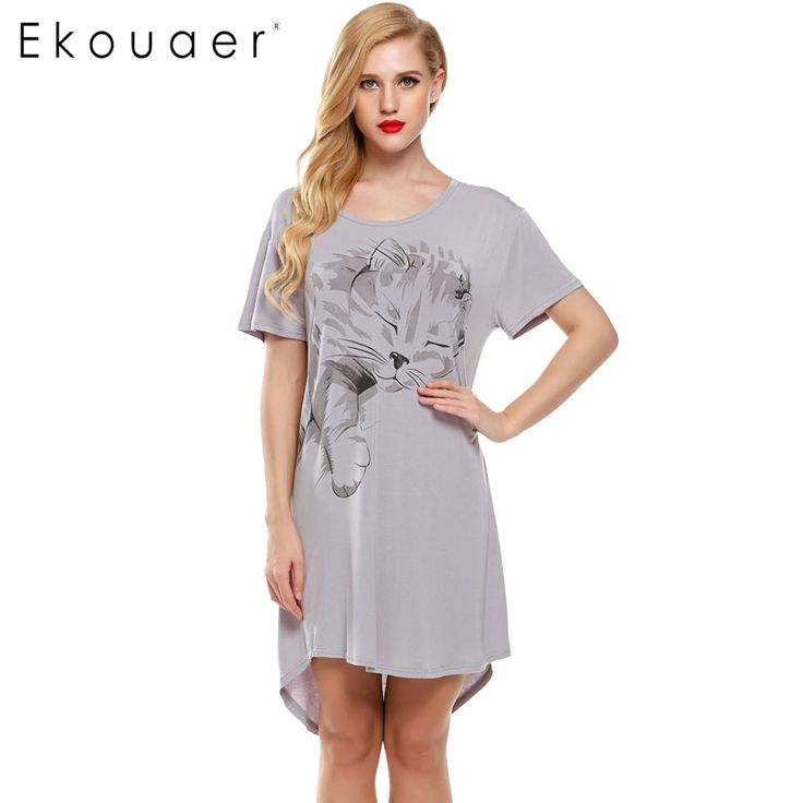 Ekouaer Women Nightgowns Summer Sleepwear Casual Night Dresses Plus size Short Sleeve Letter Print Loose Nightdress Home Clothes