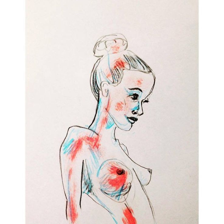 Girl #drawing #pencil #blue #red #scatch #szczepanrysuje