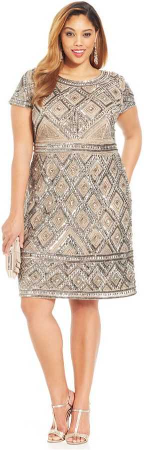 Plus Size Beaded Cocktail Dress - Princess Style #UNIQUE_WOMENS_FASHION #slimmingbodyshapers   Feel like a million bucks in this plus size outfit  This elegant fit and flare style is beyond flattering;  Sleeves and neckline add a feminine touch slimmingbodyshapers.com