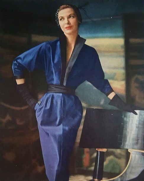 1950 Adele Simpson Blue Dinner Dress,  amazing silhouette and neck line... amazing dolman sleeve too!
