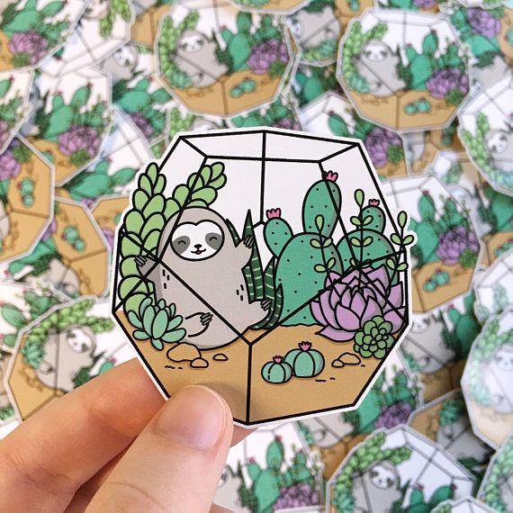 Terrarium sloth terrarium sloth stickers sloths cactus
