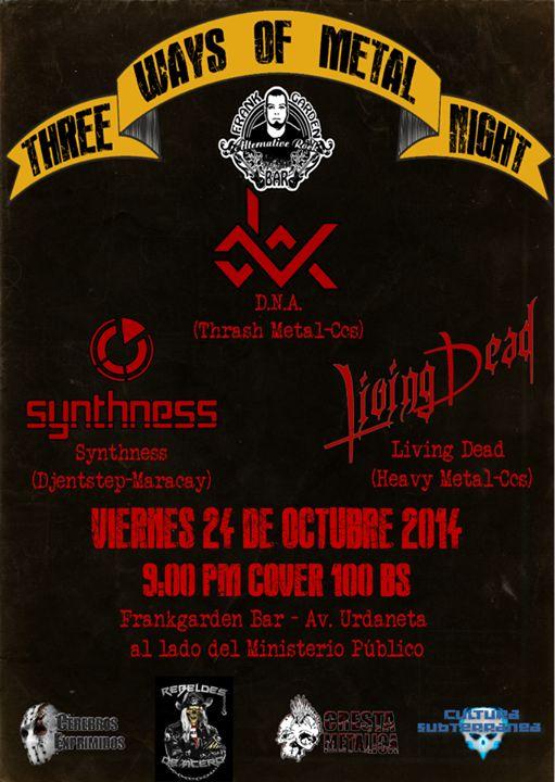 """Cresta Metálica Producciones » Frank Garden Bar presenta: """"""""Three Ways Of Metal Night"""" (Caracas) // 24-10-2014"""