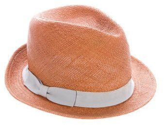 Hat Attack Bow-Embellished Straw Fedora Hat