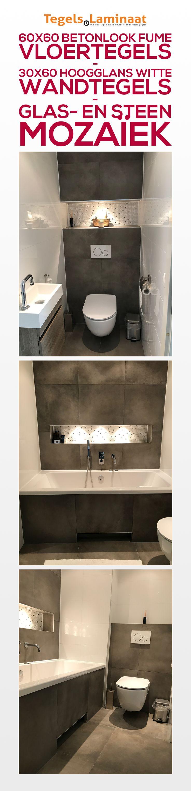 Resultaat van een zeer tevreden klant. De badkamer en toilet is voorzien van 60x60 Betonlook Fume Vloertegels, 30x60 Witte Hoogglans Wandtegels en de nisjes zijn voorzien van Spots en onze exclusieve Glas- en Steenmozaïek met accenten van RVS-Metaal.  Bekijk onze website voor onze collectie Vloertegels, Wandtegels en Decortegels!