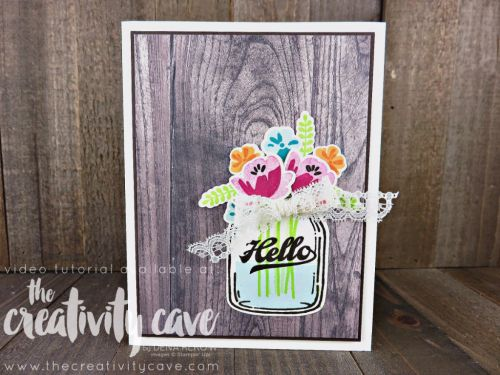 Check out the video tutorial on my blog hilighting the new Wood Textures Designer Series Paper and Jar of Love Stamp set as well as other projects from Stampin Up's New Catalog at www.thecreativitycave.com #stampinup #thecreativitycave #woodtexturesdesignerseriespaper #jaroflove
